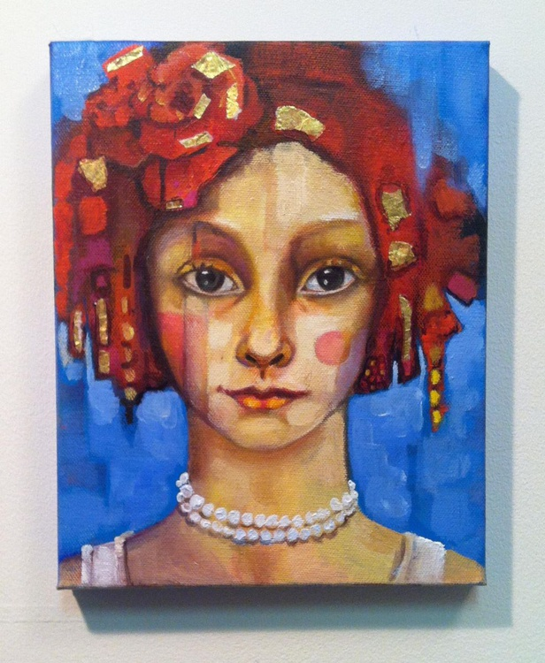 Girl with Red and gold - Image 0