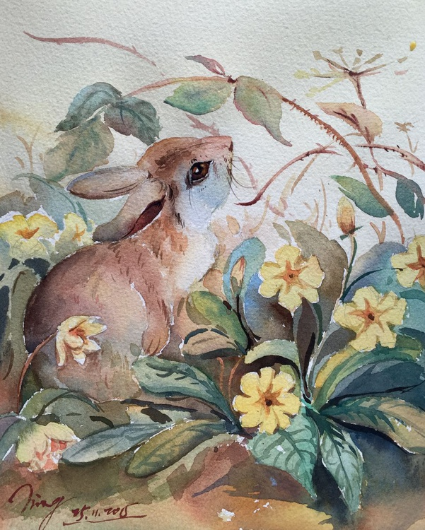 Rabbit and Flowers - Image 0