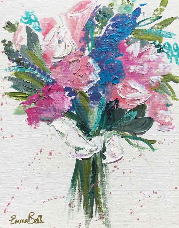 Pink and blue bouquet II