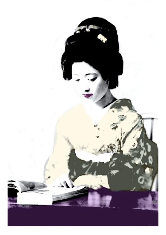 Japanese Geisha Reading - Image 0