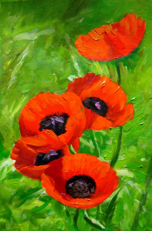 Poppies, oil painting 20x30 cm - Image 0