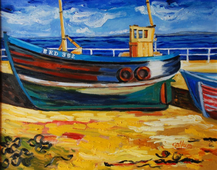 Beached boat, Avoch harbour - Image 0