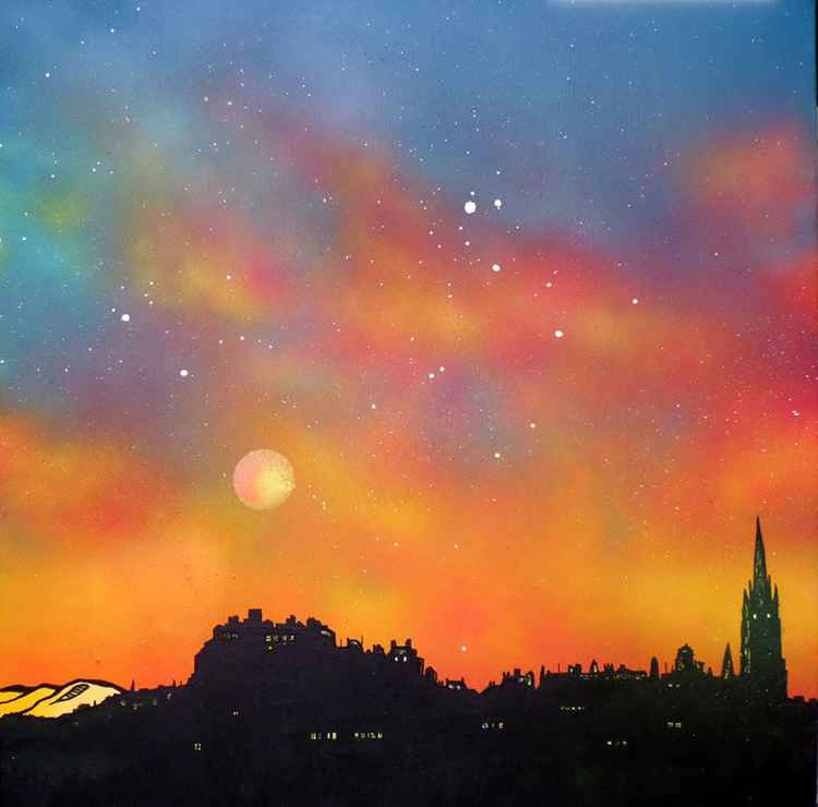 Edinburgh city skyline the summer haze, Scotland – An original Scottish painting.