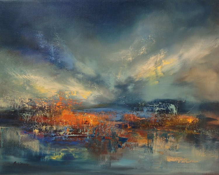 Mystic Lake - 40 x 50 cm, abstract landscape oil painting, blue, red, orange - Image 0
