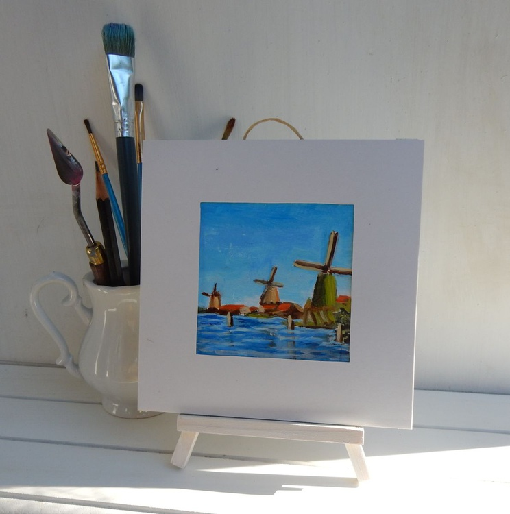 Wind mills (6) in Zaanse Schance. Holland. Landscape Miniature. Easel is included. Gift painting. Ready to hang. - Image 0
