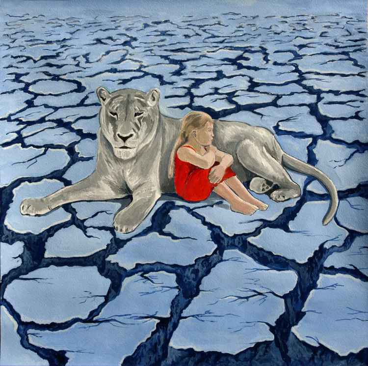 #White lion with girl in red
