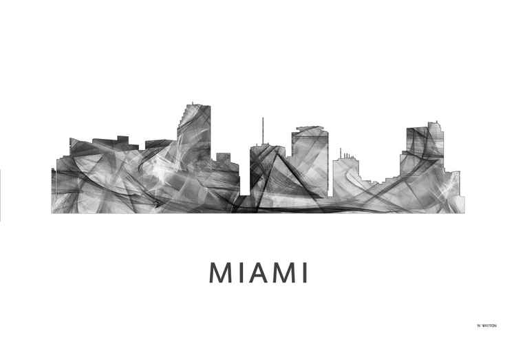 Miami Florida Skyline WB BW -