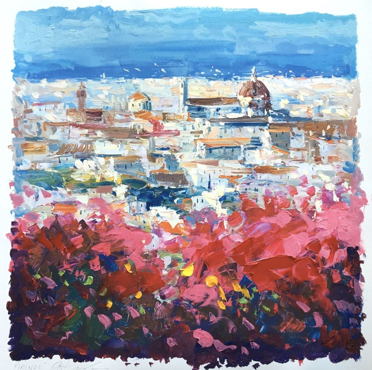 Florence Italy Art Paintings of Italy Oil Painting Art City Paintings Fine Art Paper Anniversary Gifts for Mom Gifts for Women Wedding Gifts - Image 0