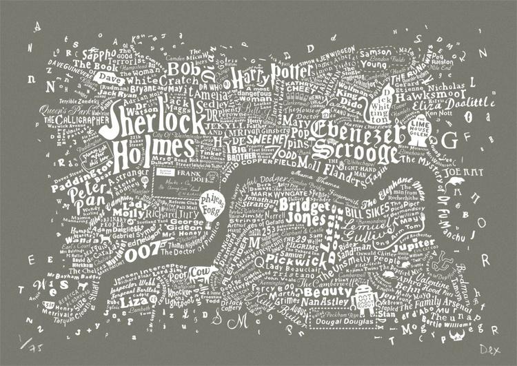 Literary Central London Map (grey screenprint) - Image 0
