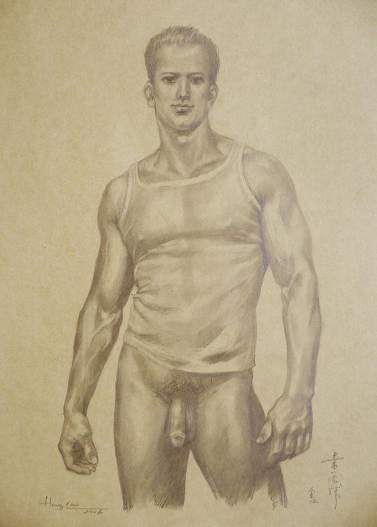 ORIGINAL DRAWING PENCIL  ART MALE NUDE MAN ON BROWN PAPER#16-6-8 - Image 0