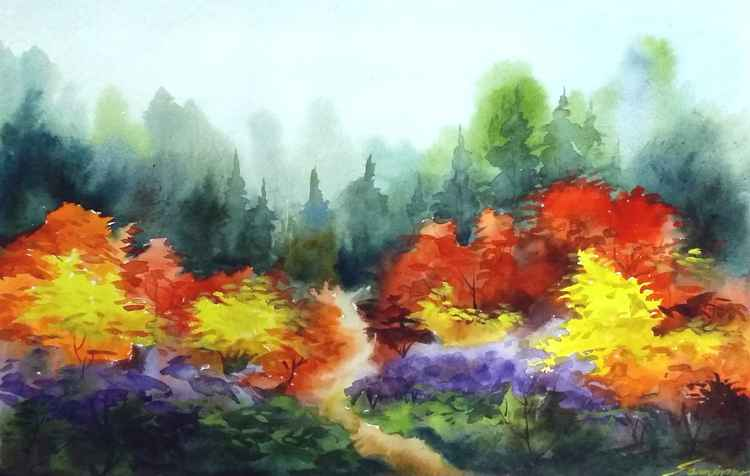Beauty of Season Forest - Watercolor Painting