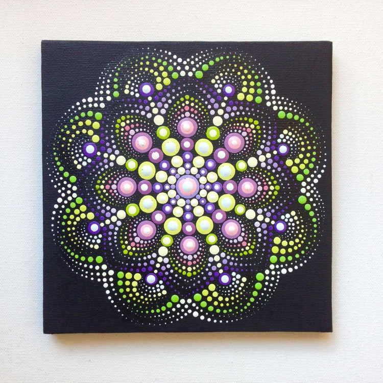 Pink Green Dotart Mandala Painting on Canvas 15x15 cm Original - Image 0