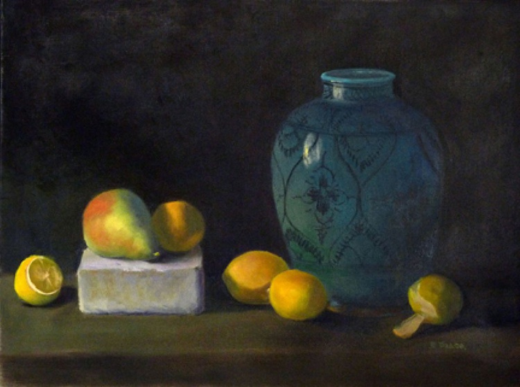 Turquoise Vase with Pear and Lemons - Image 0