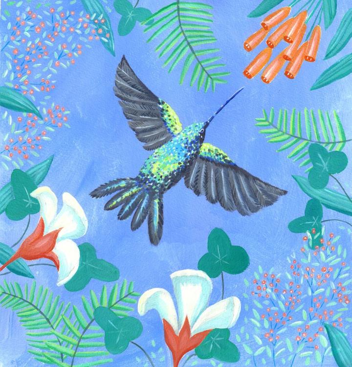 Hummingbird with flowers - Image 0