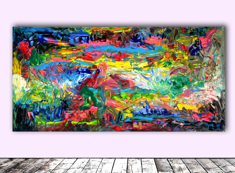 Gipsy's Song - 100x50 cm - FREE SHIPPING - Big Painting XXL - Large Painting - Ready to Hang, Hotel Wall Decor - Image 0