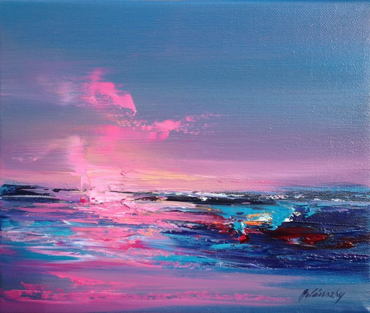 Pink Shore - 25 x 30 cm, abstract landscape oil painting, gray, purple, magenta, pink - Image 0