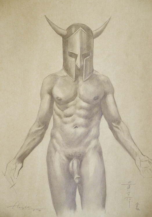 ORIGINAL DRAWING PENCIL  ART MALE NUDE AND  HELMET ON BROWN PAPER#16-6-30-01 - Image 0