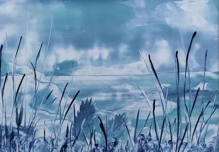 Serene Blue Fantasy Landscape - Image 0