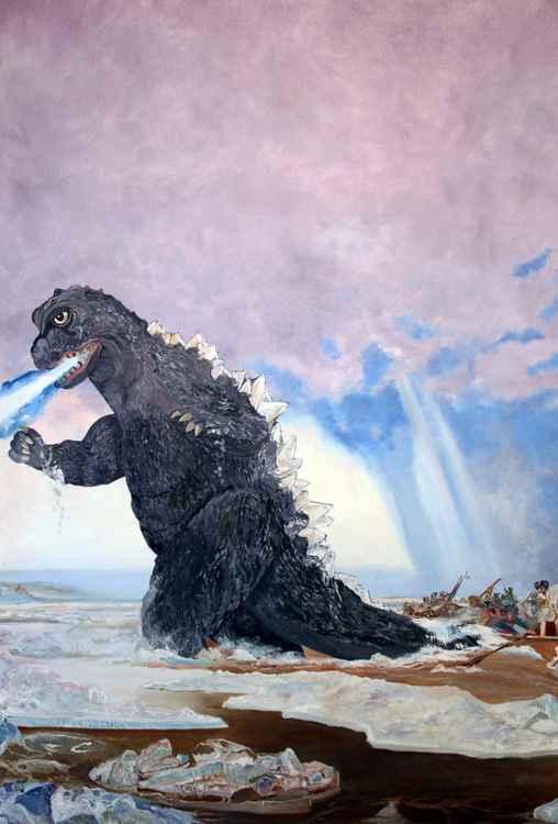 Godzilla Crossing the Delaware -