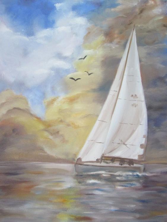 """""""BIG SAIL"""", Oil on Canvas, Watersport, Coastal, Sea - Image 0"""