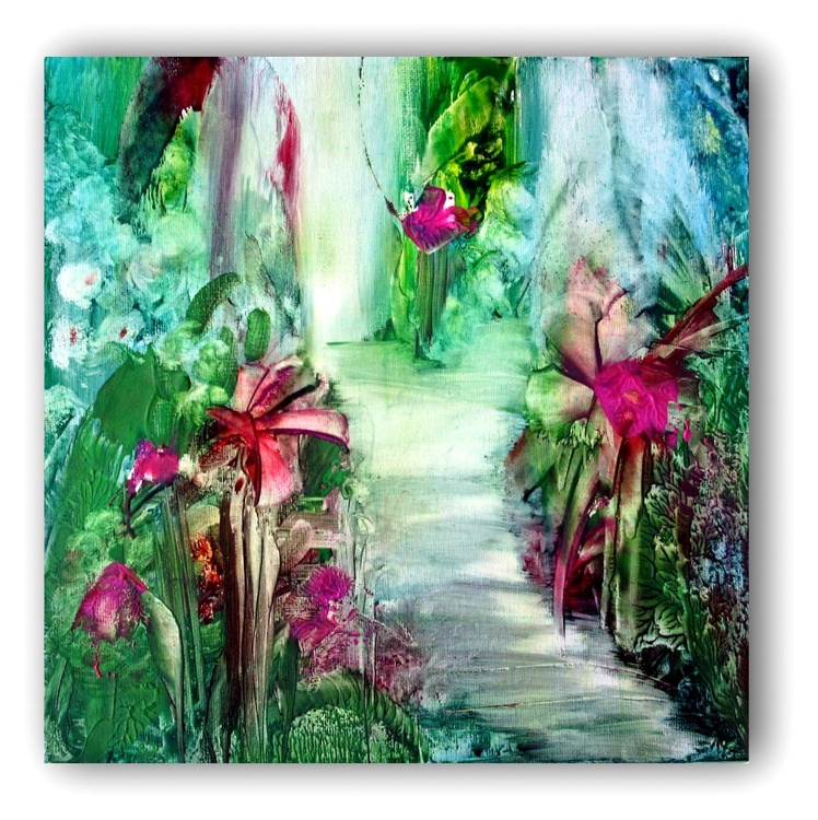 """""""A Magical Place"""" 12""""x12"""" Encaustic on Canvas ready to hang Abstract Fantasy - Image 0"""
