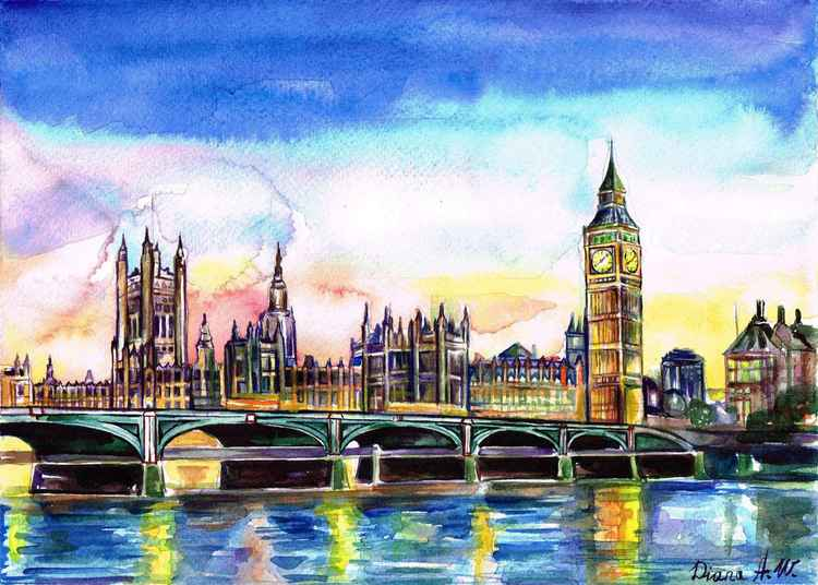 London, Westminster, Big ben, Original Watercolour Painting, home interior, home decor, Gift Idea -
