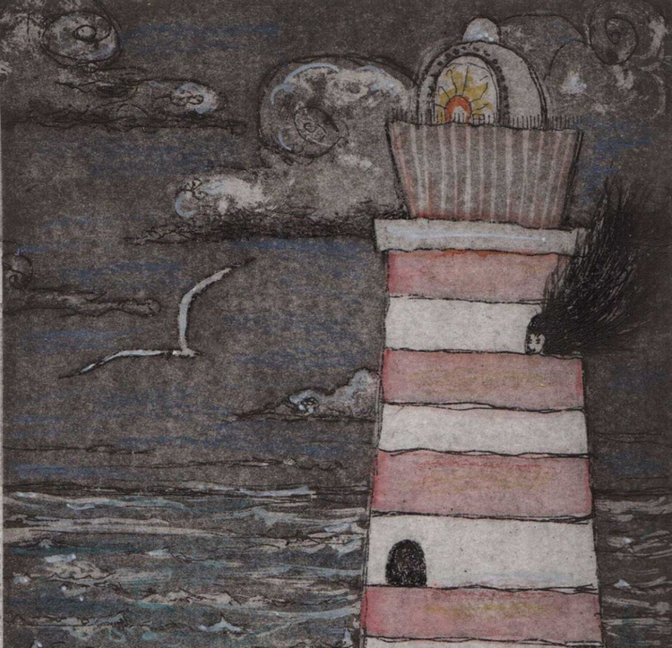 Lighthouse Keeper gorgeous hand colored limited edition etching hand colored with poem - Image 0