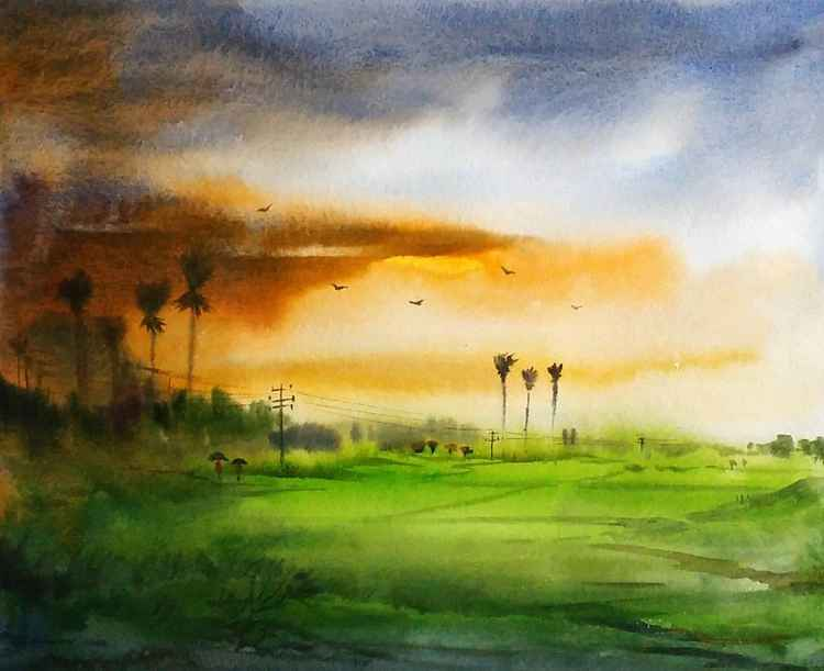 Rainy day & Corn Field - Watercolor Painting