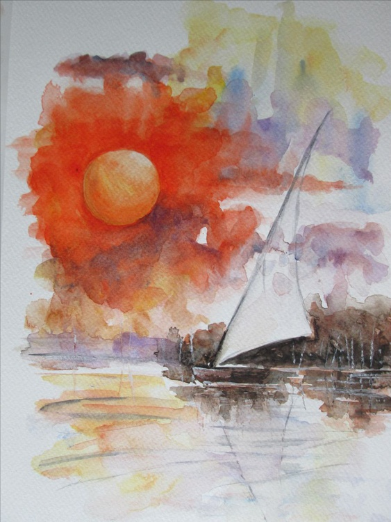 BAY, Sailboat and sunset, unframed in mount/mat for your 10x12inch frame - Image 0
