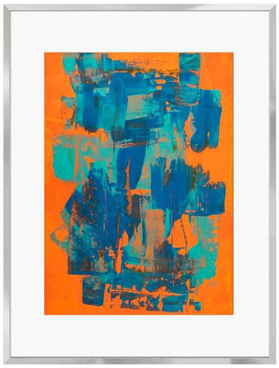 Two Blues on Orange -