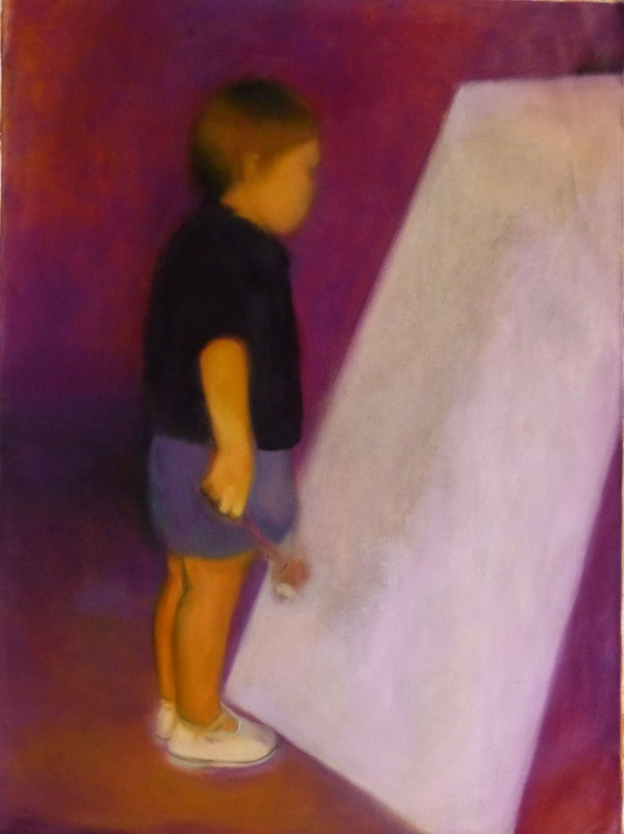 The little artist, oil on canvas 80x60 cm - Image 0