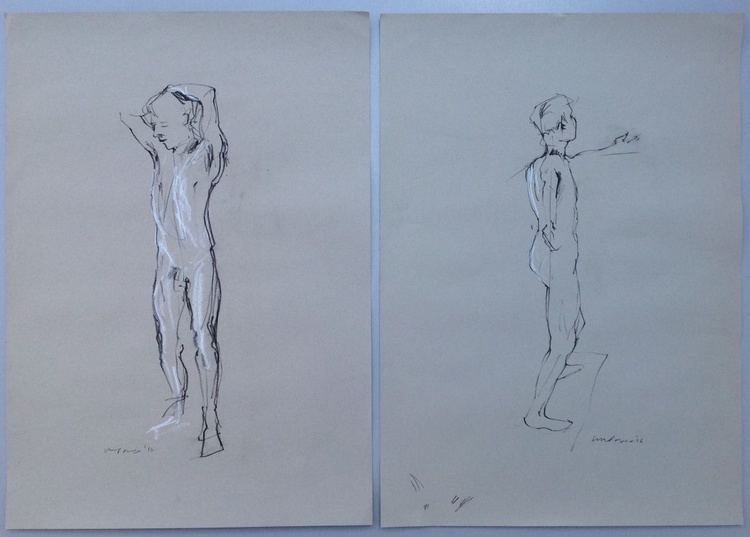 Pair of Male nude studies - standing, A2 soft pastel life drawing #17 - Image 0
