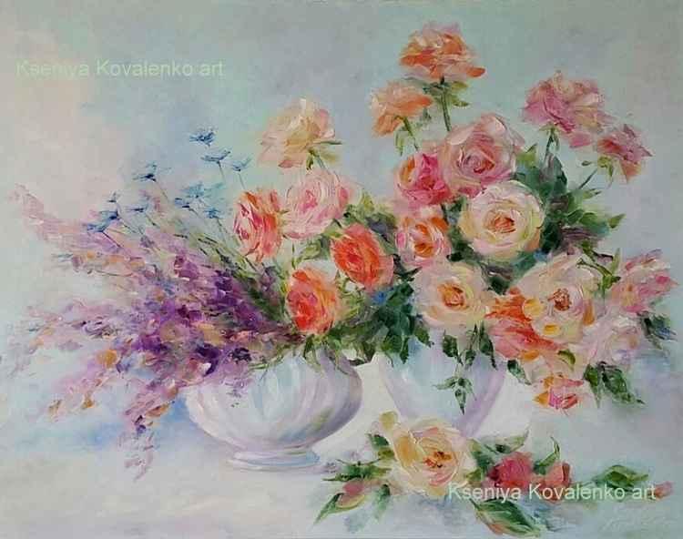 painting *Когда цветут благоухая розы, В Душе о них слогается романс*Oil on canvas 90х70 cm