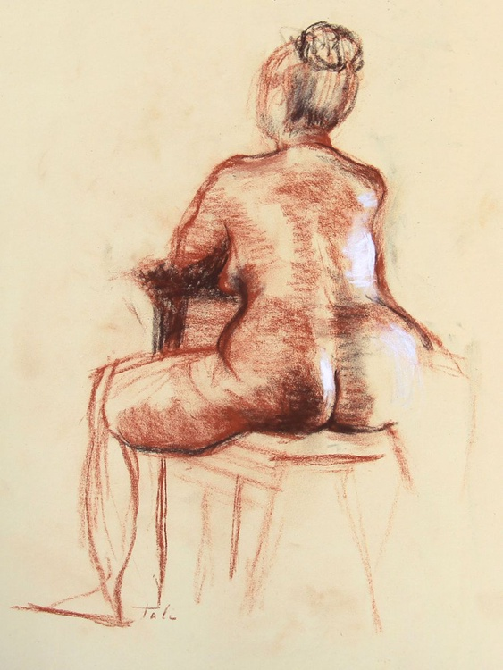 Back of Seated Female Nude on Drawing Horse - Image 0
