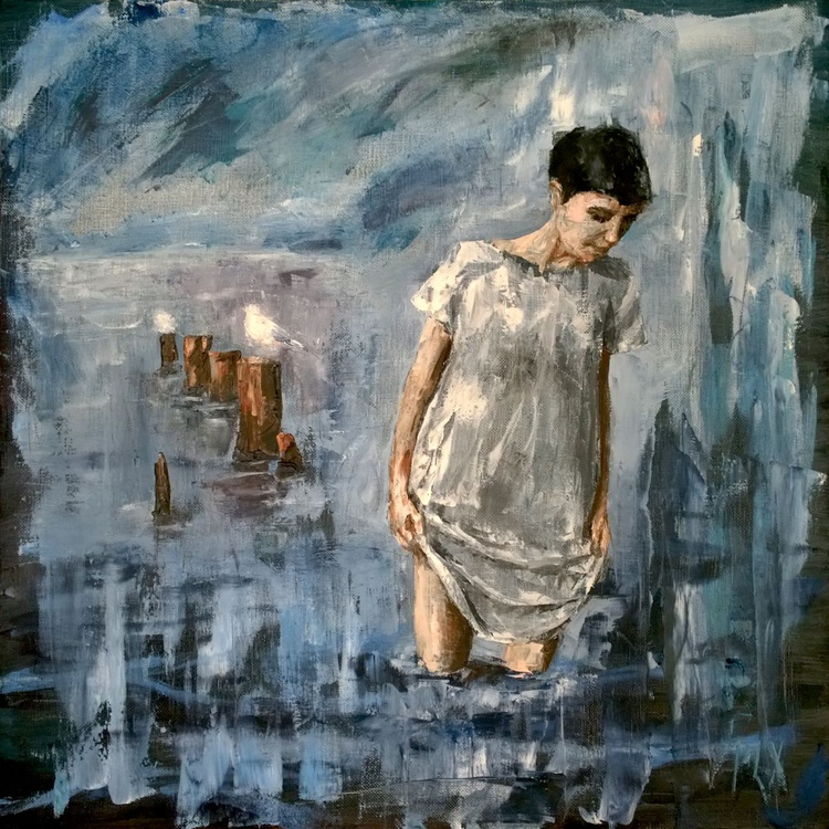 Looking deep, 28x28 inches 70x70cm Gallery Quality palette knife linen canvas - Image 0