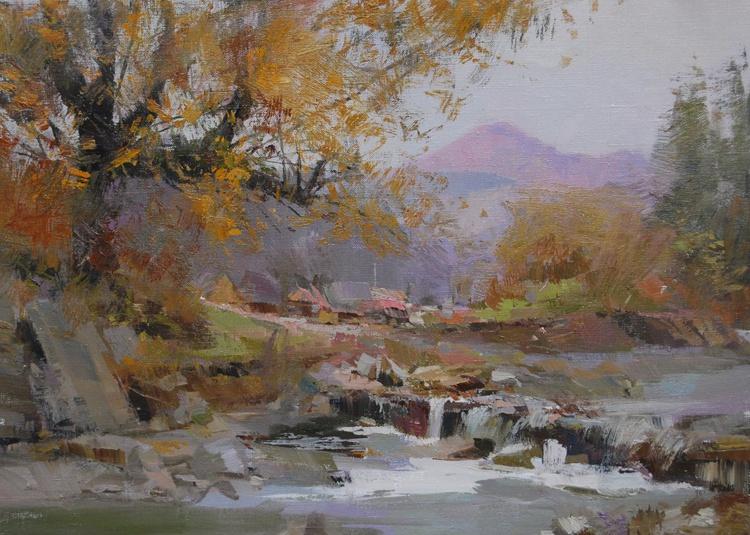"""Contemporary Landscape Painting """" Distant Light """" ( 435l15 ) - Image 0"""