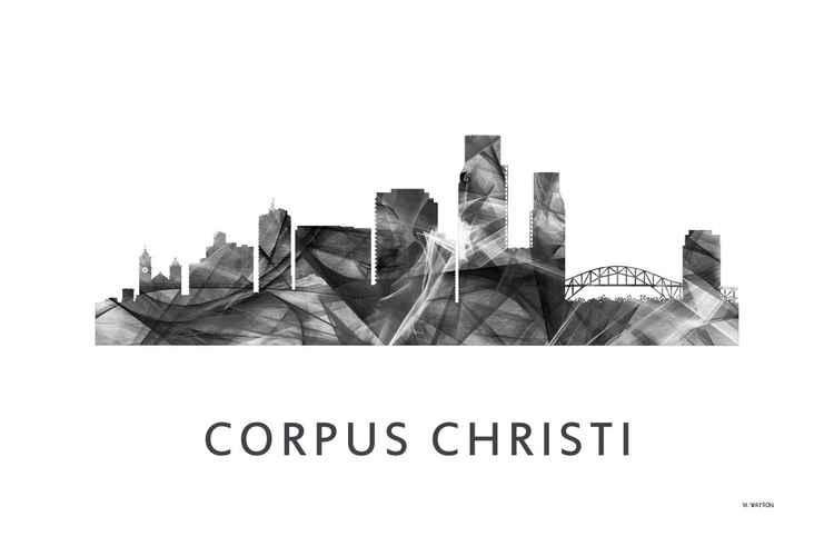Corpus Christi Texas Skyline WB BW -