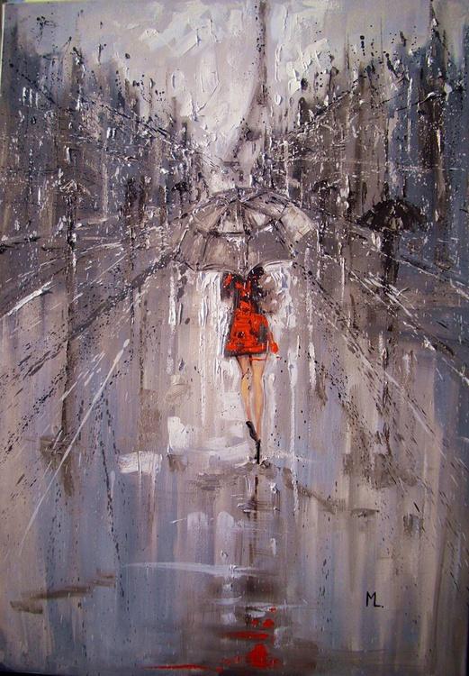 "100x70cm LARGE FORMAT ""  MY RAINY PARIS... "" original painting CITY palette knife GIFT MODERN URBAN ART OFFICE ART DECOR HOME DECOR GIFT IDEA - Image 0"