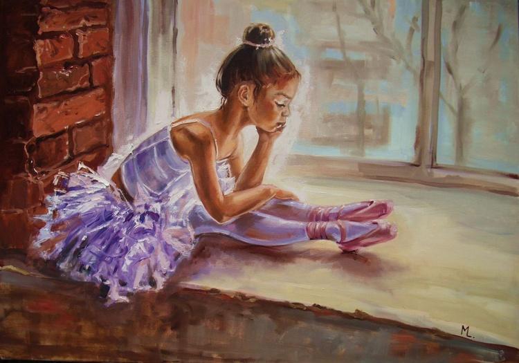 "100x 70cm "" LITTLE THINKER ... ""- ballerina WINDOW light  ORIGINAL OIL PAINTING, GIFT, large format big size - Image 0"
