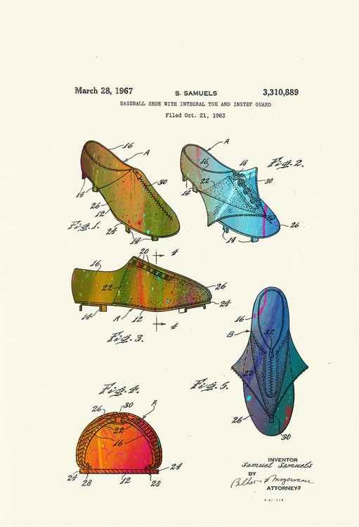 Baseball Shoes Patent drawing - Circa 1967