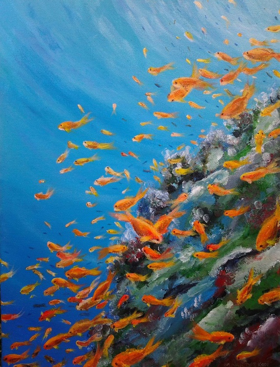 """""""THE SEA REEF"""", Calm and Peaceful underwater painting in acrylic, 30x40x1.5cm. Ready to hang - Image 0"""