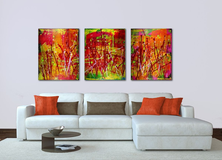 Interrupted abstract landscape III Orange- Tryptic artwork. - Image 0