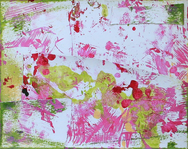 Winter Garden, Collage Painting - Image 0