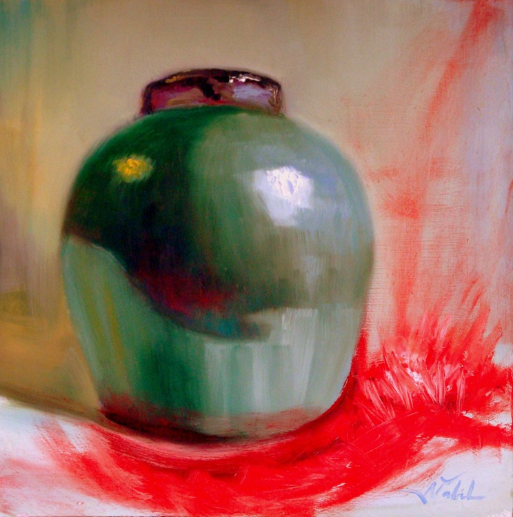 green vase and spilled red paint - Image 0