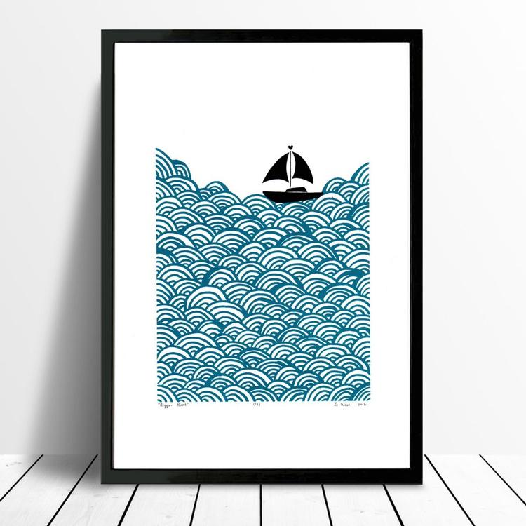 Bigger Boat in Petrol Blue - Framed - FREE UK Delivery - Image 0