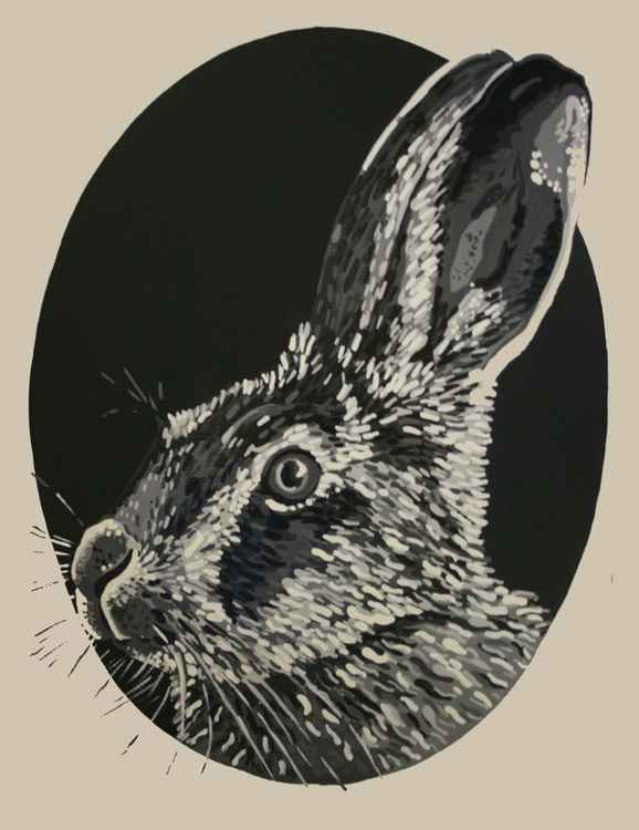 Unique Oval Hare portrait. Black and white. Graphic and modern -