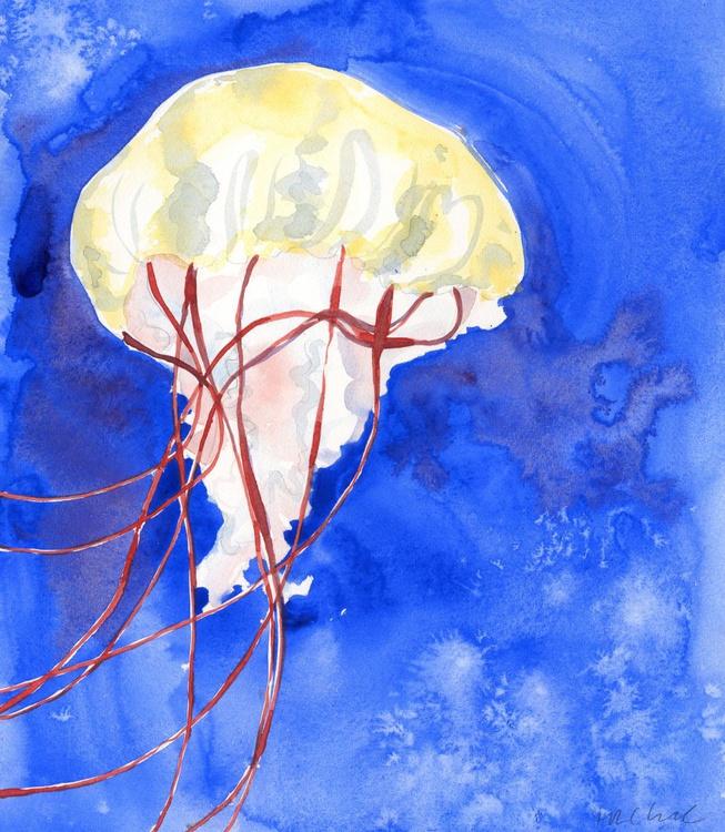 Original Watercolour Painting of Jellyfish 'Up Close' - Image 0