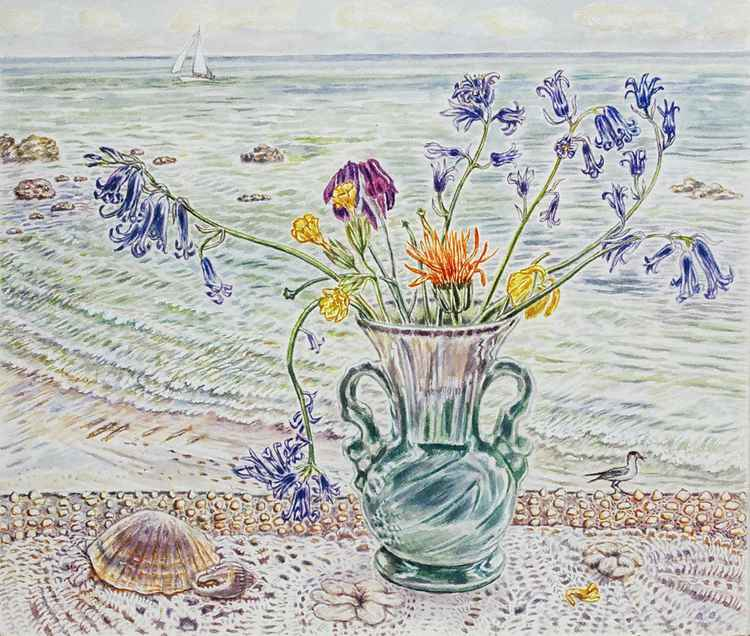 Seaview with vase, bluebells shell and lace cloth Bonchurch IOW -
