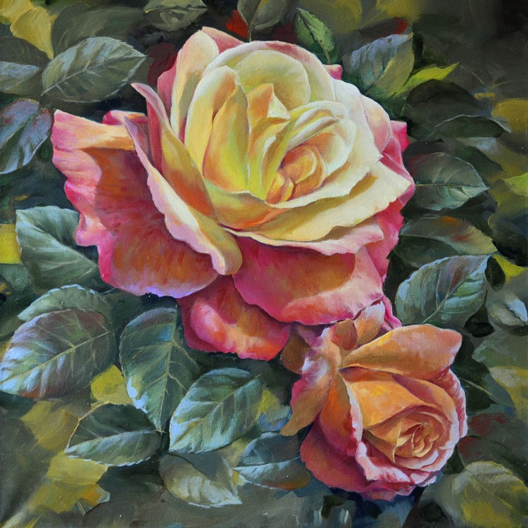 Roses in the garden, Original oil on canvas - Image 0