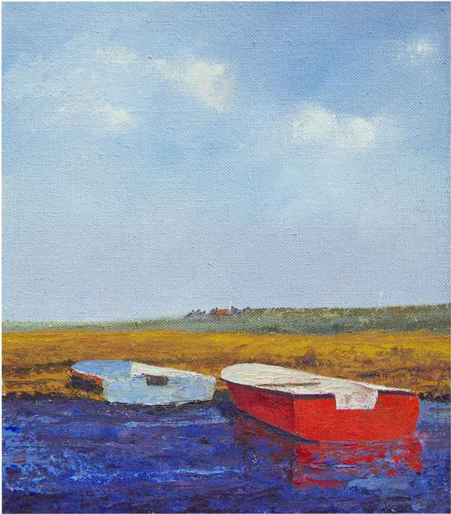 RED AND BLUE BOAT -
